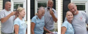 Judy's new husband shaving her head.